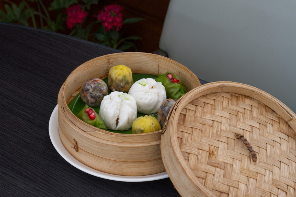 Vegetarian steamed dim sum basket